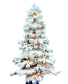 6' Flocked Spruce Artificial Christmas Tree with 300 Clear Lights