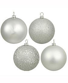 "Vickerman 3"" Silver Splendor 4-Finish Christmas Ornament, 32 per"
