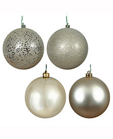 "Vickerman 2.4"" Champagne 4-Finish Ball Christmas Ornament, 24 per Box"