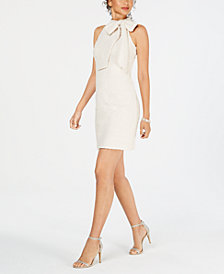 Vince Camuto Tie-Neck Boucle Shift Dress