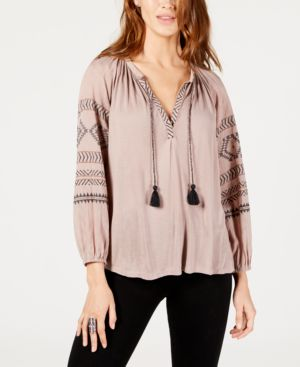 Embroidered Peasant Blouse, Dusty Mauve