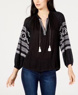 Embroidered Peasant Blouse, Black W/ Cream