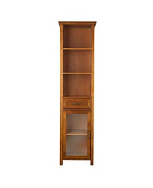 Avery Linen Cabinet with 1 Drawer and 3 open shelves - Wood veneer with Oil Oak finish