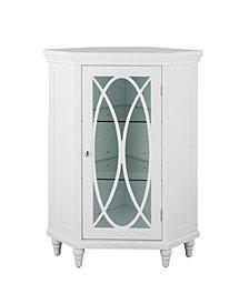 "32""H Florence Corner Floor Cabinet with 2 adjustable tempered glass shelves"