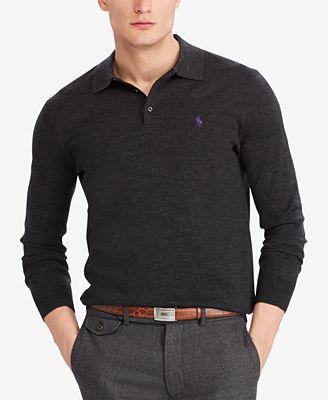 Polo Ralph Lauren Mens Hybrid Merino Blend Polo Sweater Sweaters
