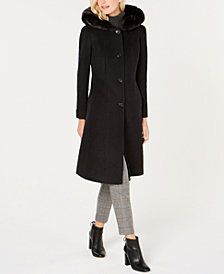 Anne Klein Faux-Fur-Trim Hooded Maxi Coat