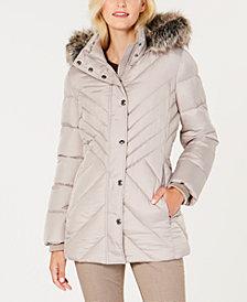 London Fog Faux-Fur-Trim Down Puffer Coat