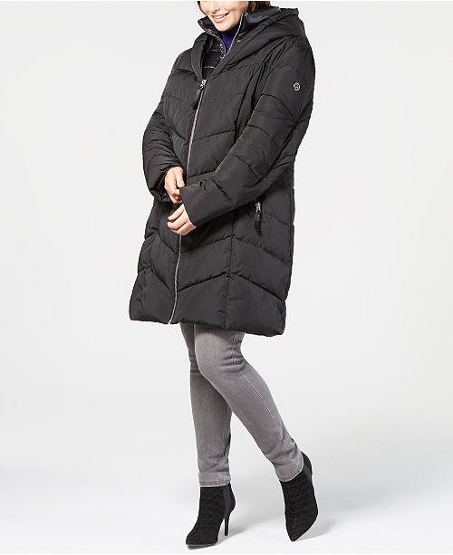 Calvin Klein Plus Size Faux-Fur-Trim Hooded Puffer Coat