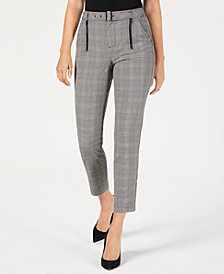 GUESS Alexa Belted Plaid Trousers