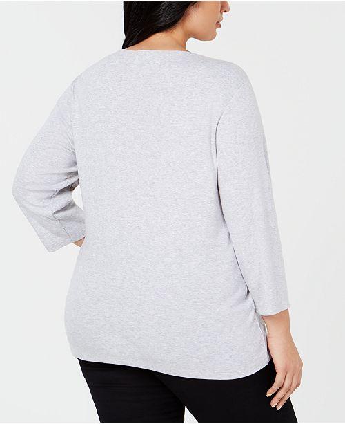 0f2f7d09e0c8 Karen Scott Plus Size Cotton Holiday Flamingo Top