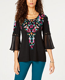 JM Collection Chiffon-Sleeve Embroidered Top, Created for Macy's