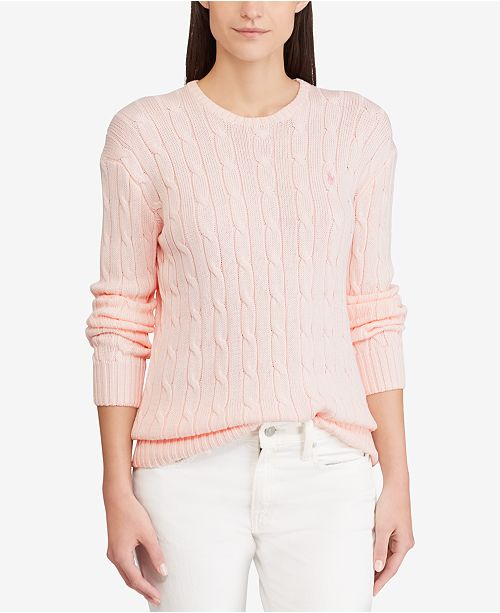 a44d15d342 Polo Ralph Lauren Pink Pony Cable-Knit Sweater   Reviews - Sweaters ...