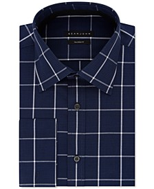 Men's Classic/Regular Fit Performance Stretch Navy Check French Cuff Dress Shirt