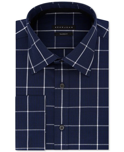 Sean John Men's Classic/Regular Fit Performance Stretch Navy Check French Cuff Dress Shirt