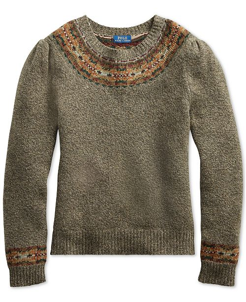 Vintage Sweaters: Cable Knit, Fair Isle Cardigans & Sweaters Polo Ralph Lauren Fair Isle Sweater $298.00 AT vintagedancer.com