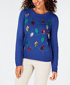 Karen Scott Embroidered Sequin-Embellished Sweater