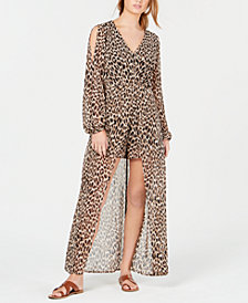 Material Girl Juniors' Animal-Print Walk-Through Romper, Created for Macy's