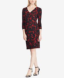 Lauren Ralph Lauren Petite Floral-Print Velvet Dress