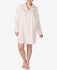 Lauren Ralph Lauren Plus Size Flannel Button-Front Sleepshirt