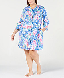 Miss Elaine Plus Size Printed Snap-Front Robe