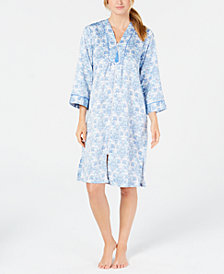 Miss Elaine Printed Short Zip Robe