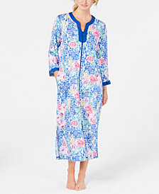 Miss Elaine Printed Zip-Front Robe