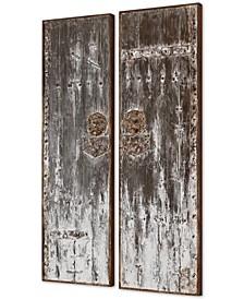 Giles Aged Wood Wall Art Set of 2