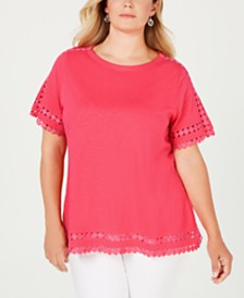 Charter Club Plus Size Cotton Circle-Trim Top, Created for Macy's