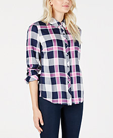 Maison Jules Plaid Relaxed-Fit Shirt, Created for Macy's