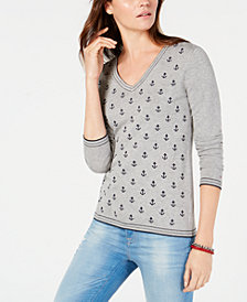 Tommy Hilfiger Cotton Anchor-Front V-Neck Sweater, Created for Macy's