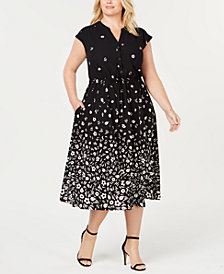Anne Klein Plus Size Printed Midi Dress