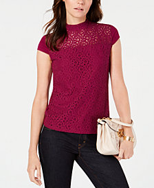 Tommy Hilfiger Lace Mockneck Top, Created for Macy's