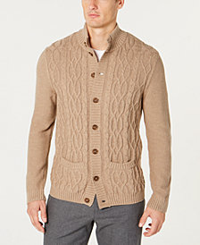 Tasso Elba Men's Cable Knit Cardigan, Created for Macy's