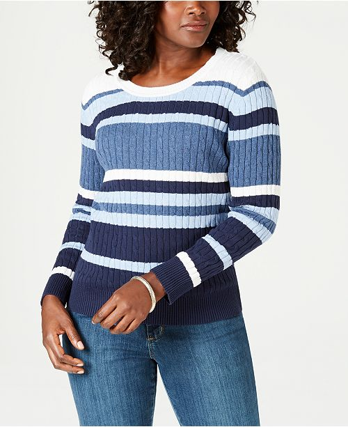 e8dace9a2f ... Karen Scott Striped Cotton Cable-Knit Sweater