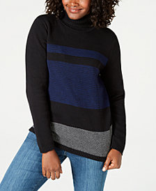Karen Scott Petite Cotton Colorblocked Turtleneck Sweater, Created for Macy's