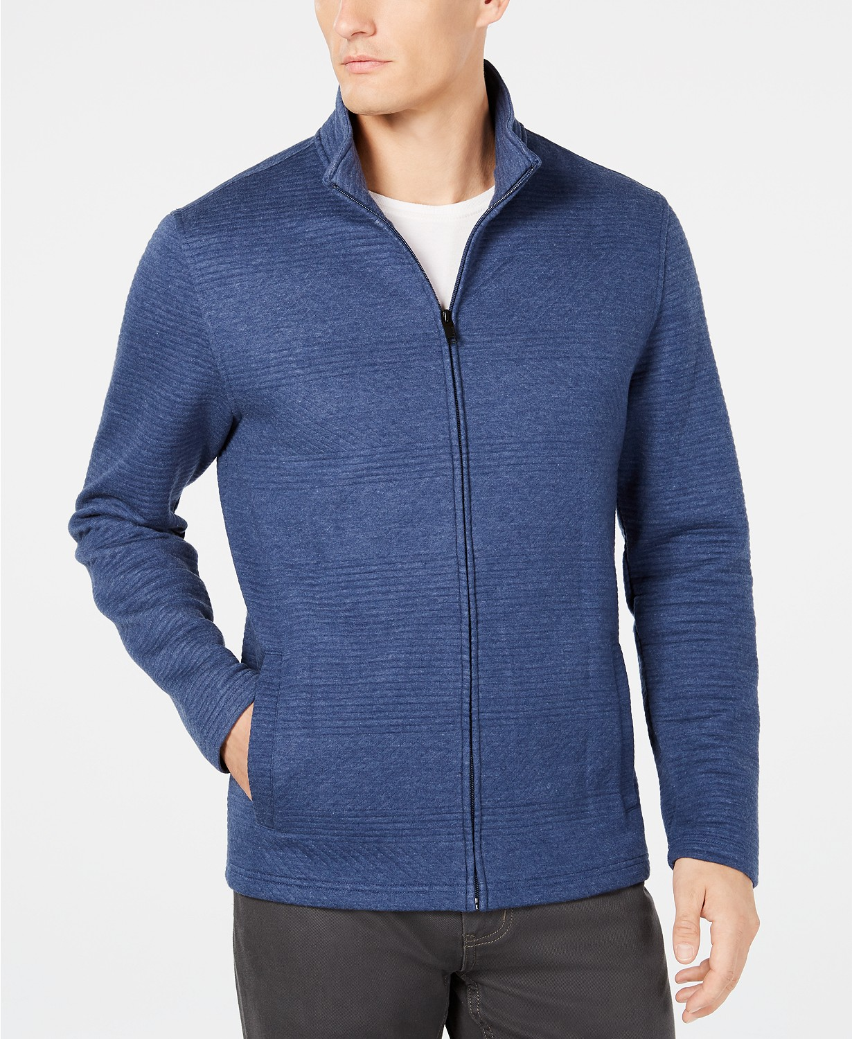 Alfani Men's Textured Zip-Front Jacket (Black or Lake Heather)