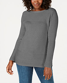 Karen Scott Cotton Ottoman-Stitch Boat-Neck Sweater, Created for Macy's
