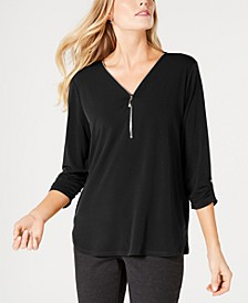 Petite Zipper-Trim Top, Created for Macy's