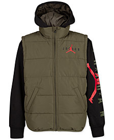 Jordan Big Boys AJ Layered-Look Hooded Puffer Jacket
