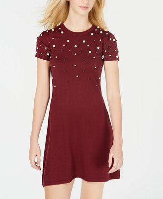 Planet Gold Juniors Embellished Sweater Dress Dresses Juniors