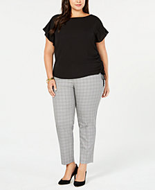 MICHAEL Michael Kors Plus Size Drawstring Top & Plaid Pants