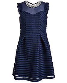 Monteau Big Girls Embellished Mesh-Striped Dress