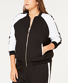 MICHAEL Michael Kors Plus Size Colorblocked MKGO Bomber Jacket