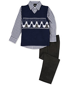 TFW Toddler Boys 3-Pc. Trees Sweater Vest, Shirt & Pants Set
