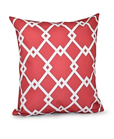 16 Inch Coral Decorative Trellis Print Throw Pillow