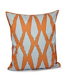 16 Inch Coral Decorative Diamond Print Throw Pillow