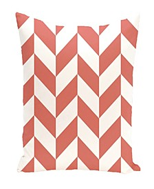 16 Inch Coral Decorative Chevron Throw Pillow
