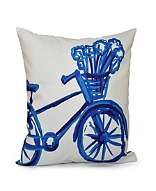 16 Inch Royal Blue and Mid Blue Decorative Geometric Throw Pillow