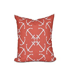 Anchor's Up 16 Inch Orange Decorative Nautical Throw Pillow