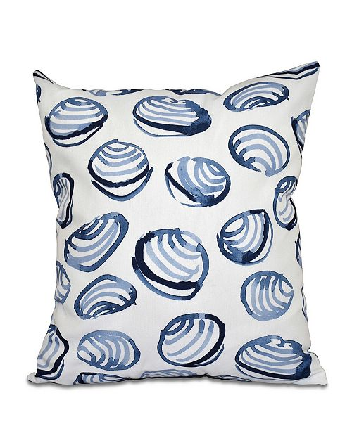 E by Design Clams 16 Inch Blue Decorative Coastal Throw Pillow